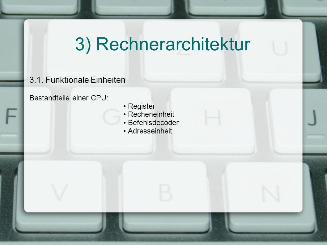 3) Rechnerarchitektur 3.1. Funktionale Einheiten