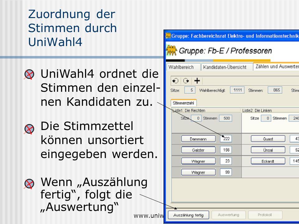 Zuordnung der Stimmen durch UniWahl4