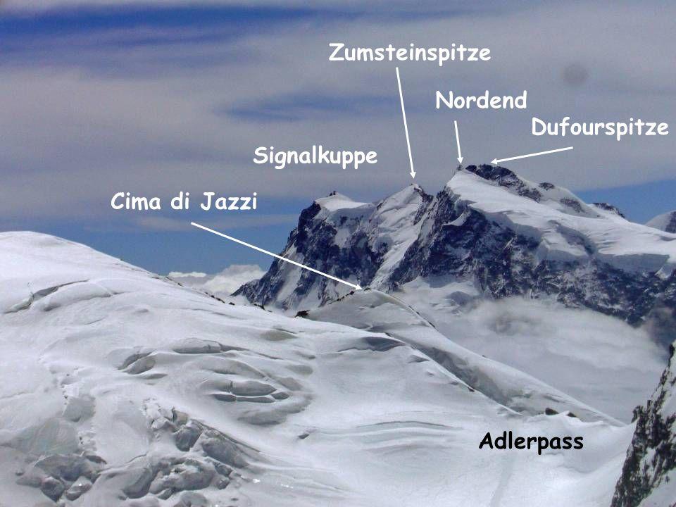 Zumsteinspitze Nordend Dufourspitze Signalkuppe Cima di Jazzi Adlerpass