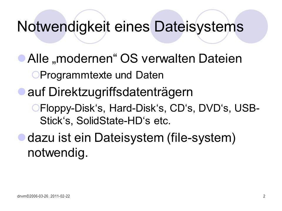 Notwendigkeit eines Dateisystems