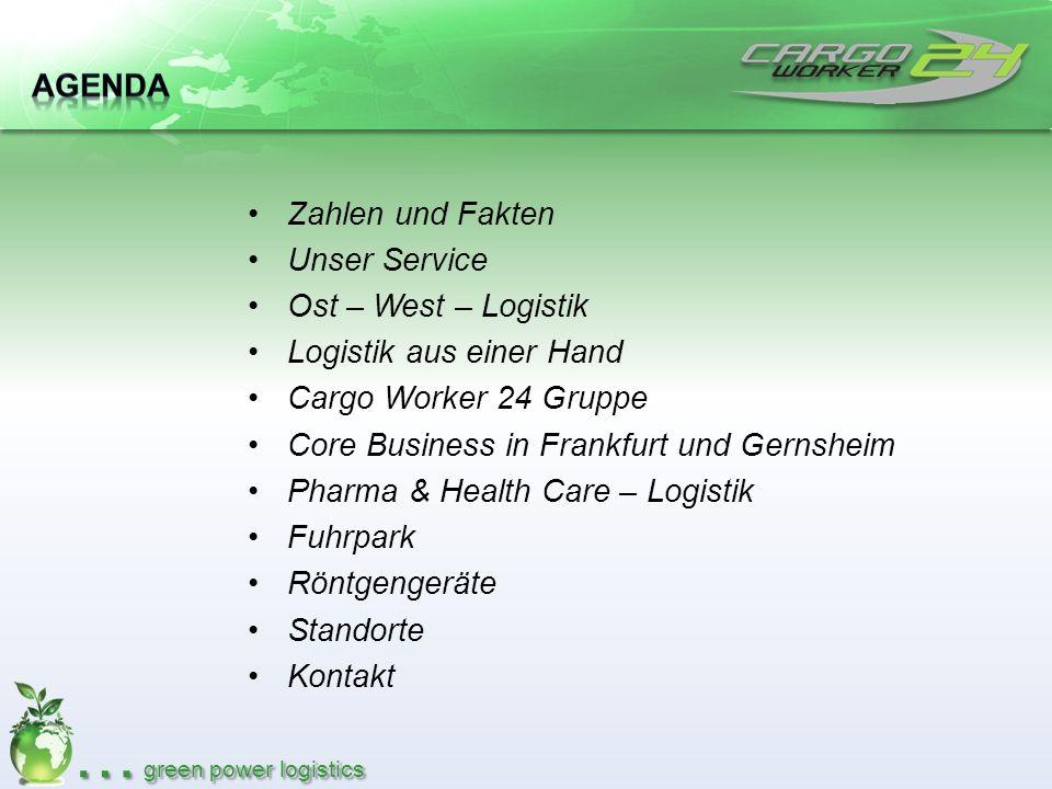 Agenda Zahlen und Fakten. Unser Service. Ost – West – Logistik. Logistik aus einer Hand. Cargo Worker 24 Gruppe.