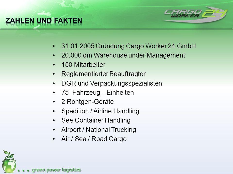 Zahlen und Fakten 31.01.2005 Gründung Cargo Worker 24 GmbH