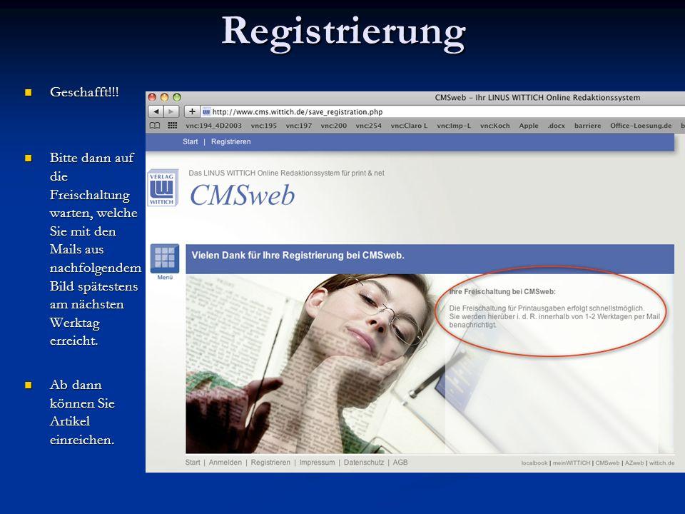 Registrierung Geschafft!!!