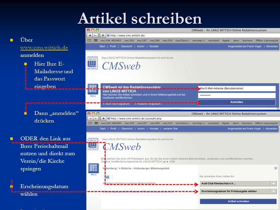 Artikel schreiben Über www.cms.wittich.de anmelden