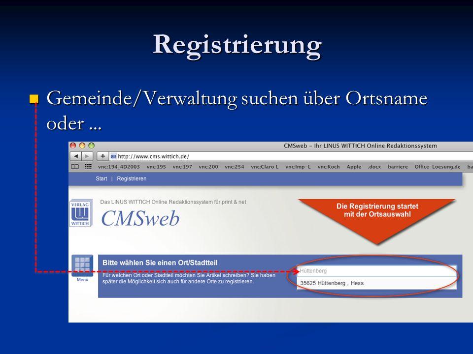 Registrierung Gemeinde/Verwaltung suchen über Ortsname oder ...
