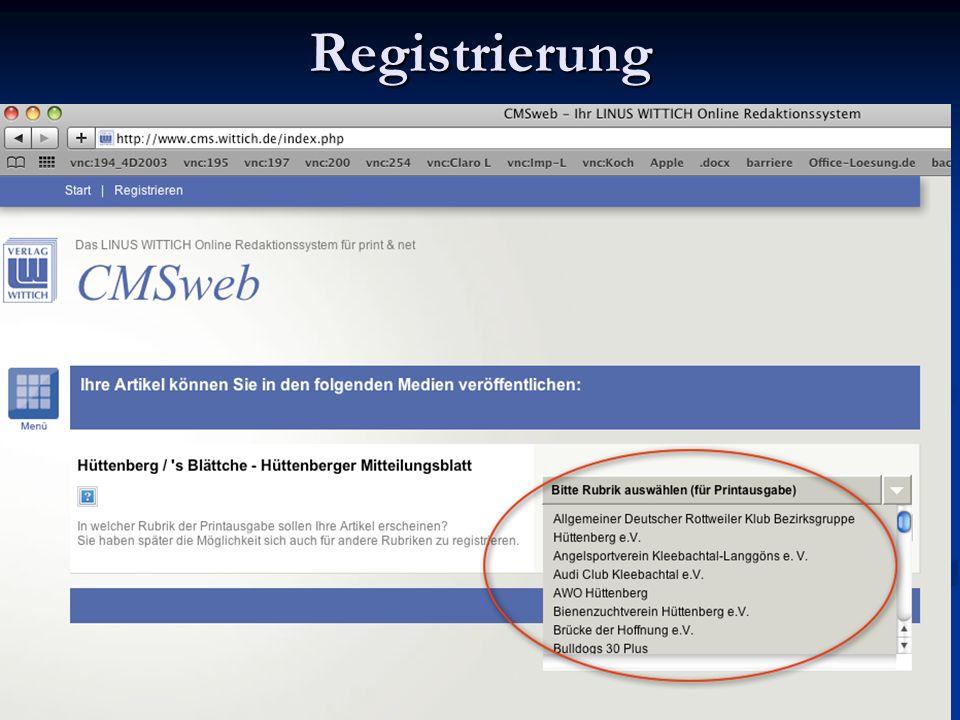 Registrierung Sdsds