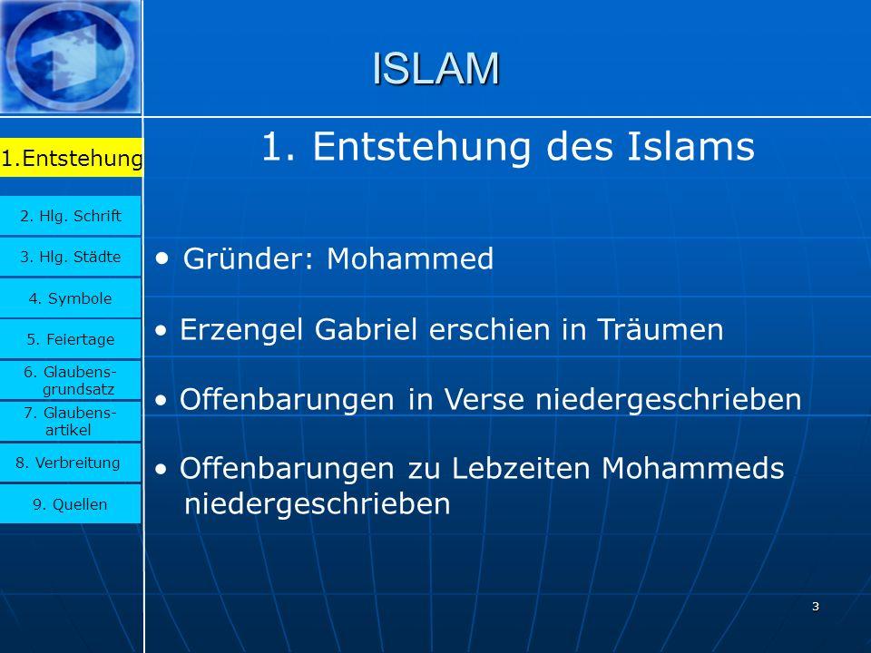 ISLAM 1. Entstehung des Islams Gründer: Mohammed