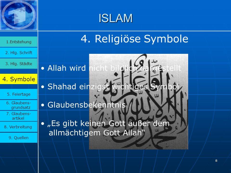 ISLAM 4. Religiöse Symbole Allah wird nicht bildlich dargestellt