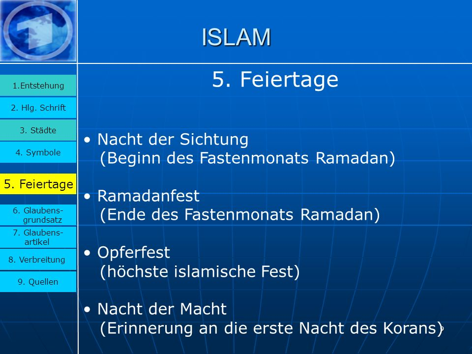 ISLAM 5. Feiertage Nacht der Sichtung