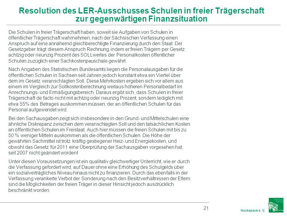 Resolution des LER-Ausschusses Schulen in freier Trägerschaft zur gegenwärtigen Finanzsituation