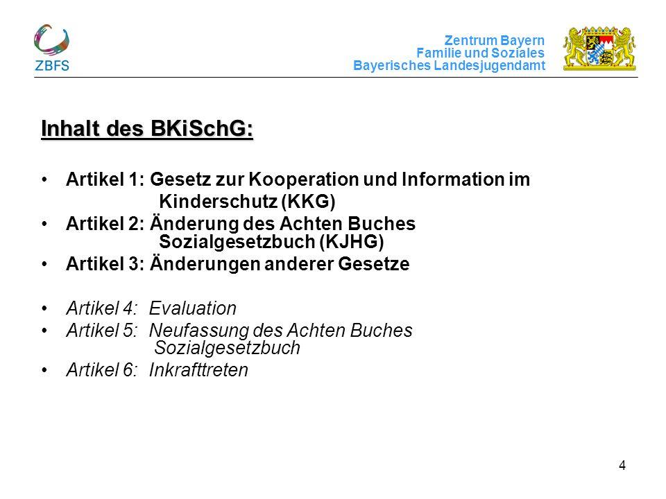 Inhalt des BKiSchG: Artikel 1: Gesetz zur Kooperation und Information im. Kinderschutz (KKG)