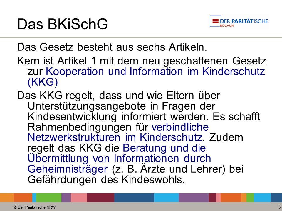 Das BKiSchG Das Gesetz besteht aus sechs Artikeln.