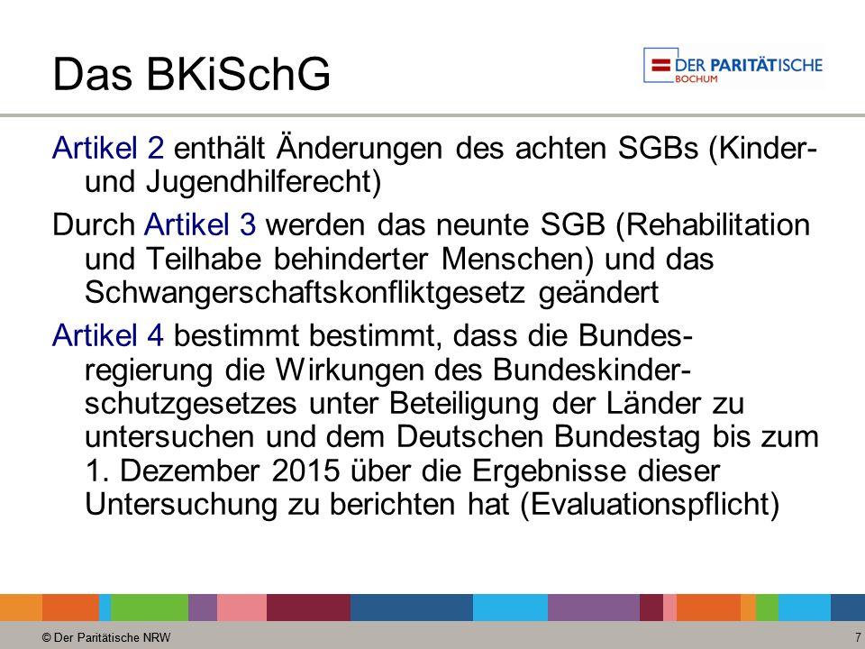 Das BKiSchG Artikel 2 enthält Änderungen des achten SGBs (Kinder- und Jugendhilferecht)