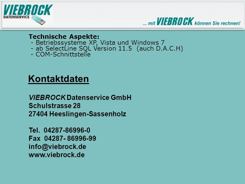 Kontaktdaten VIEBROCK Datenservice GmbH Schulstrasse 28