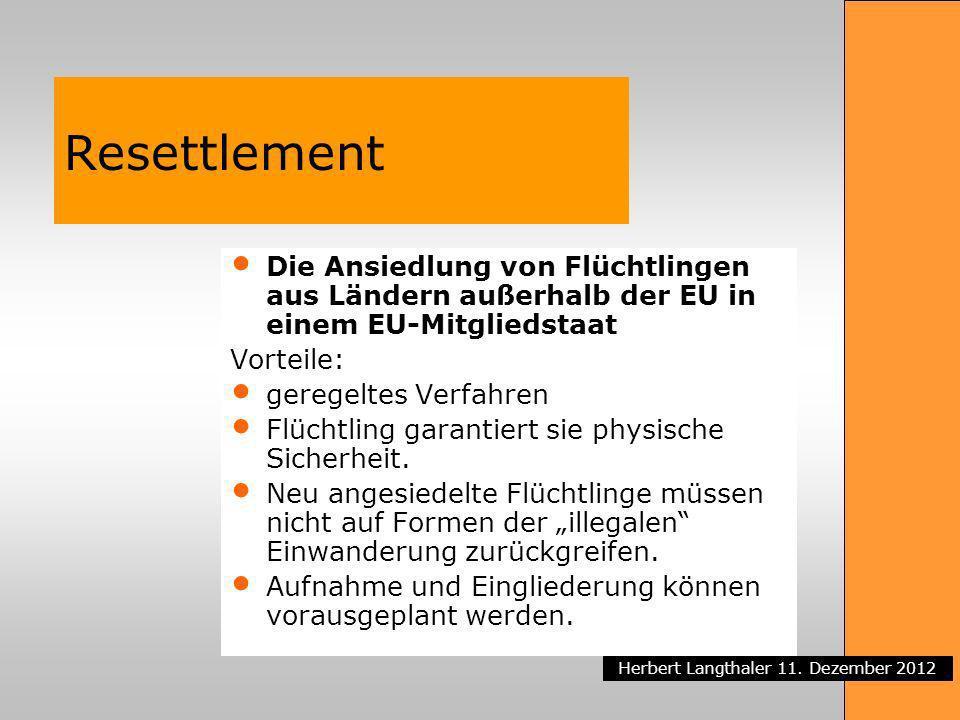 Resettlement Die Ansiedlung von Flüchtlingen aus Ländern außerhalb der EU in einem EU-Mitgliedstaat.
