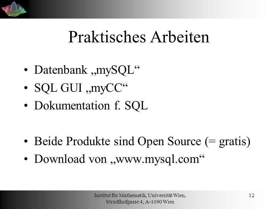 """Praktisches Arbeiten Datenbank """"mySQL SQL GUI """"myCC"""