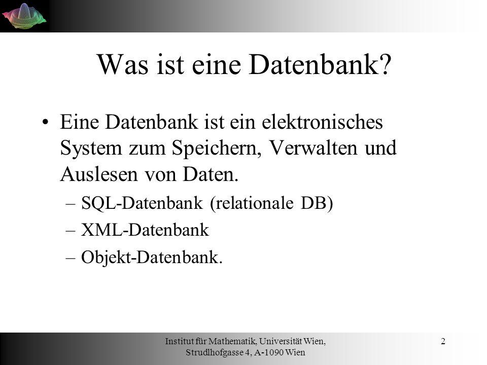 Was ist eine Datenbank Eine Datenbank ist ein elektronisches System zum Speichern, Verwalten und Auslesen von Daten.