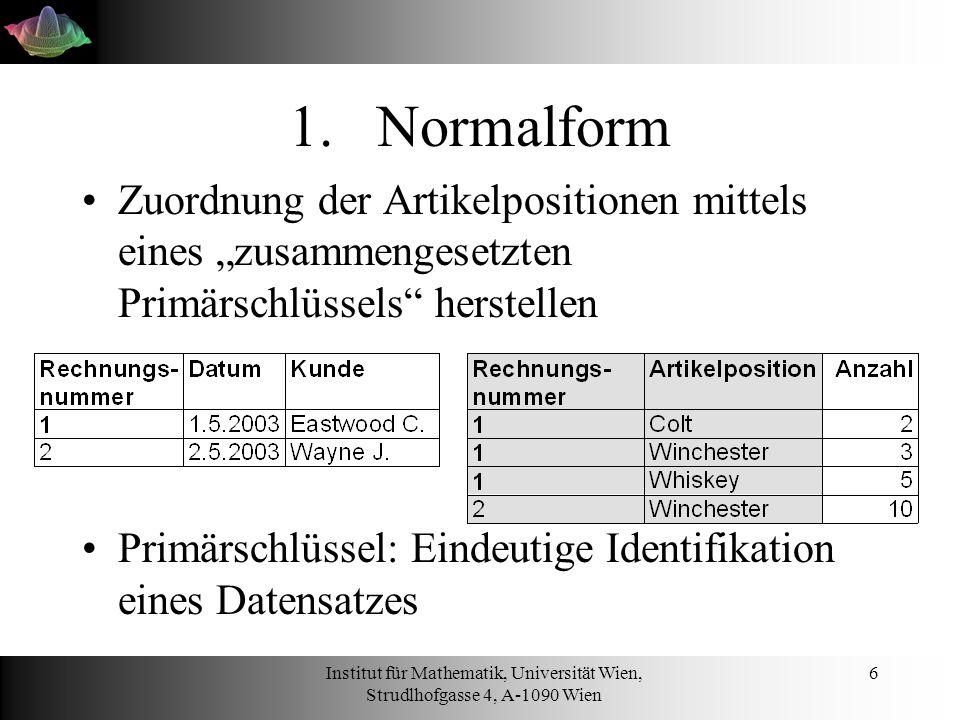 """Normalform Zuordnung der Artikelpositionen mittels eines """"zusammengesetzten Primärschlüssels herstellen."""