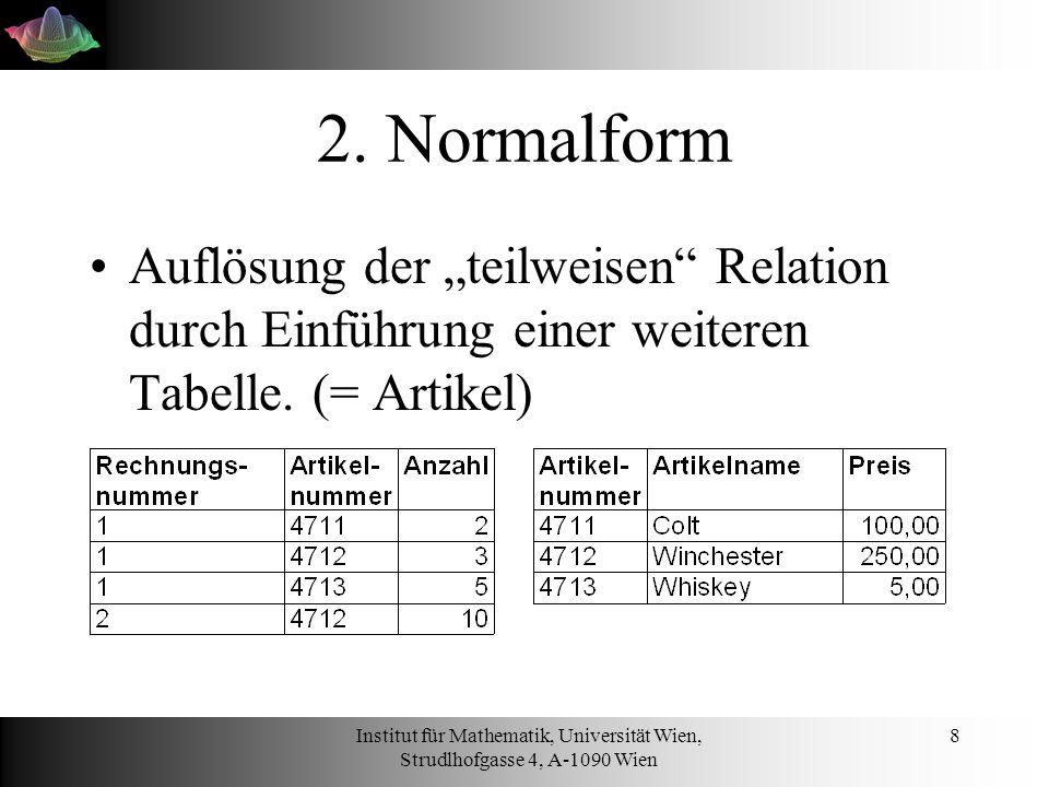 """2. Normalform Auflösung der """"teilweisen Relation durch Einführung einer weiteren Tabelle. (= Artikel)"""