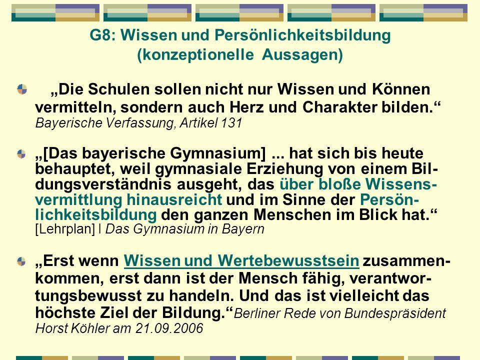 G8: Wissen und Persönlichkeitsbildung (konzeptionelle Aussagen)