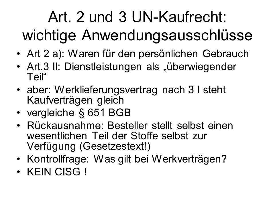 Art. 2 und 3 UN-Kaufrecht: wichtige Anwendungsausschlüsse
