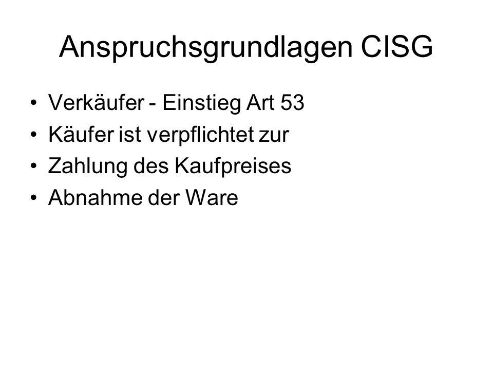 Anspruchsgrundlagen CISG