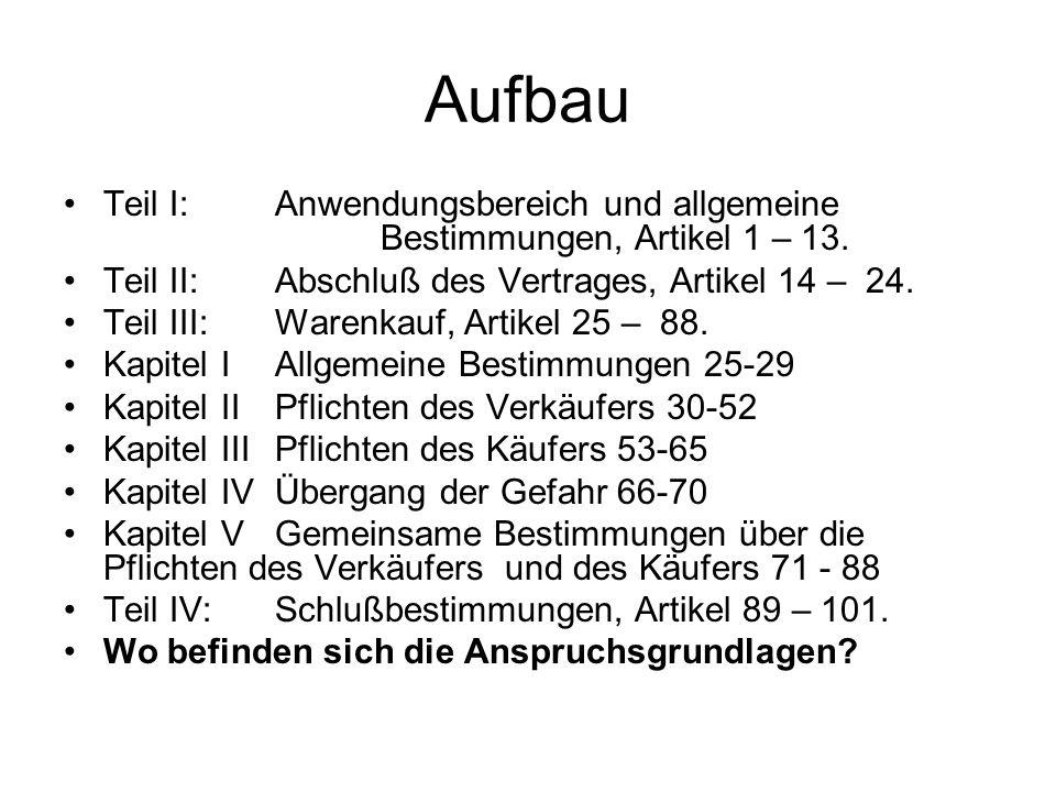 Aufbau Teil I: Anwendungsbereich und allgemeine Bestimmungen, Artikel 1 – 13. Teil II: Abschluß des Vertrages, Artikel 14 – 24.