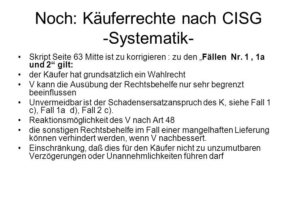 Noch: Käuferrechte nach CISG -Systematik-