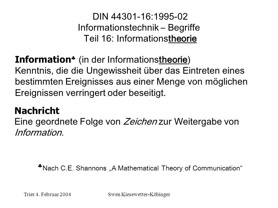 Informationstechnik – Begriffe Teil 16: Informationstheorie