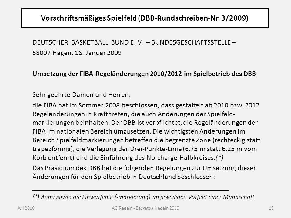 Vorschriftsmäßiges Spielfeld (DBB-Rundschreiben-Nr. 3/2009)