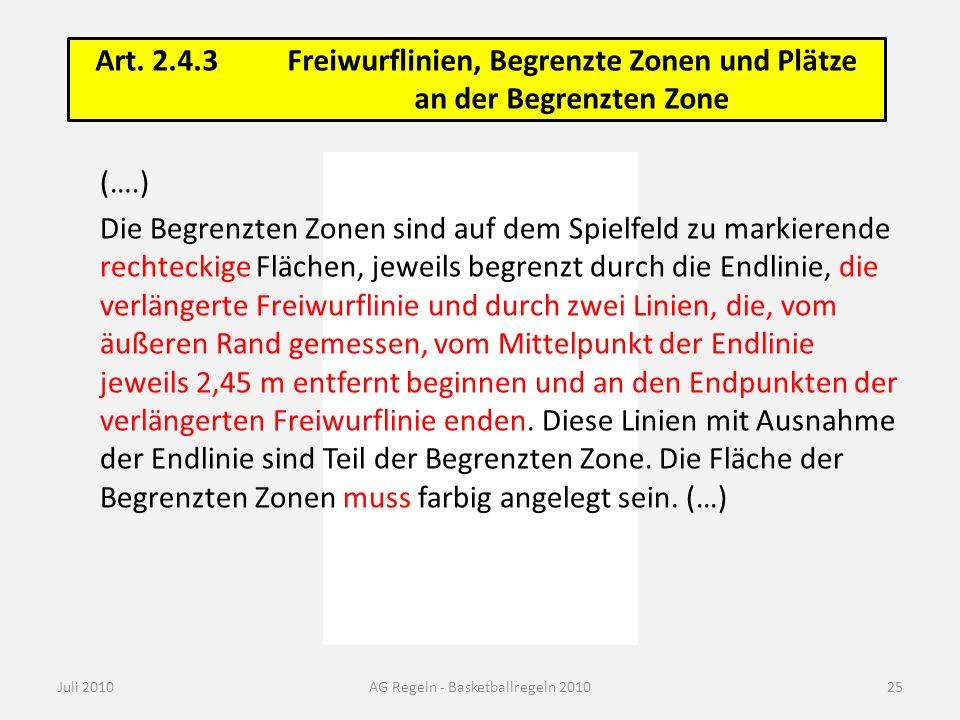 Zone und No-charge-Halbkreis