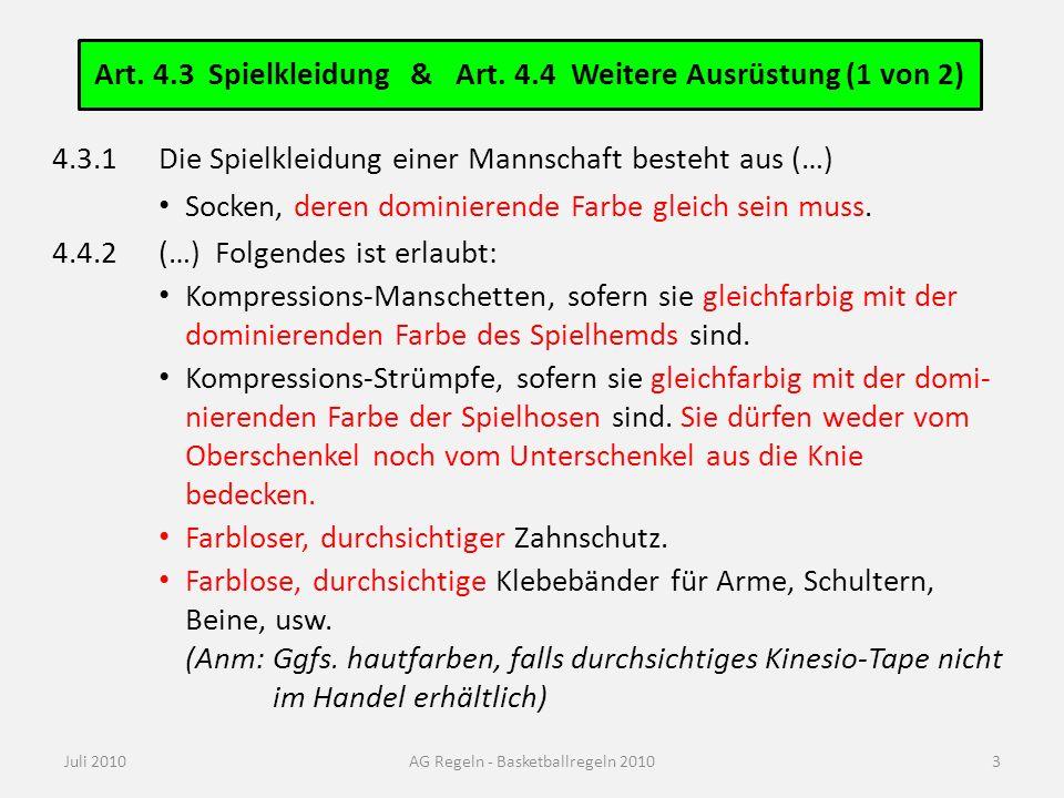 Art. 4.4 Weitere Ausrüstung (2 von 2)