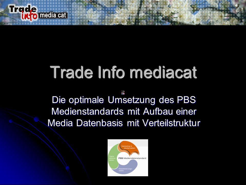 Trade Info mediacat Die optimale Umsetzung des PBS Medienstandards mit Aufbau einer Media Datenbasis mit Verteilstruktur.