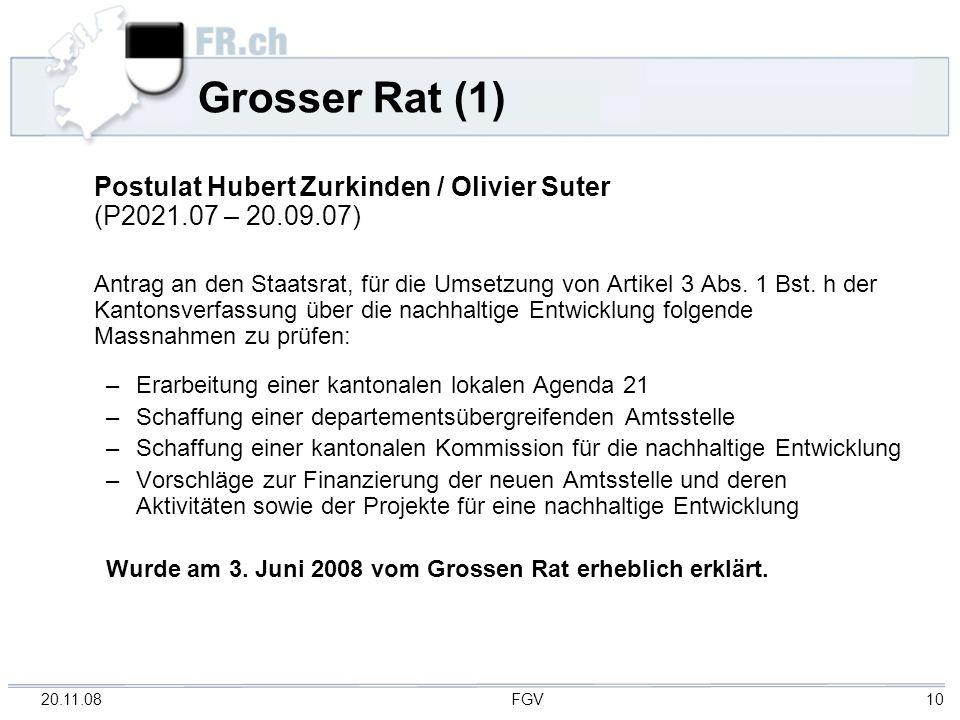 Grosser Rat (1) Postulat Hubert Zurkinden / Olivier Suter (P2021.07 – 20.09.07)