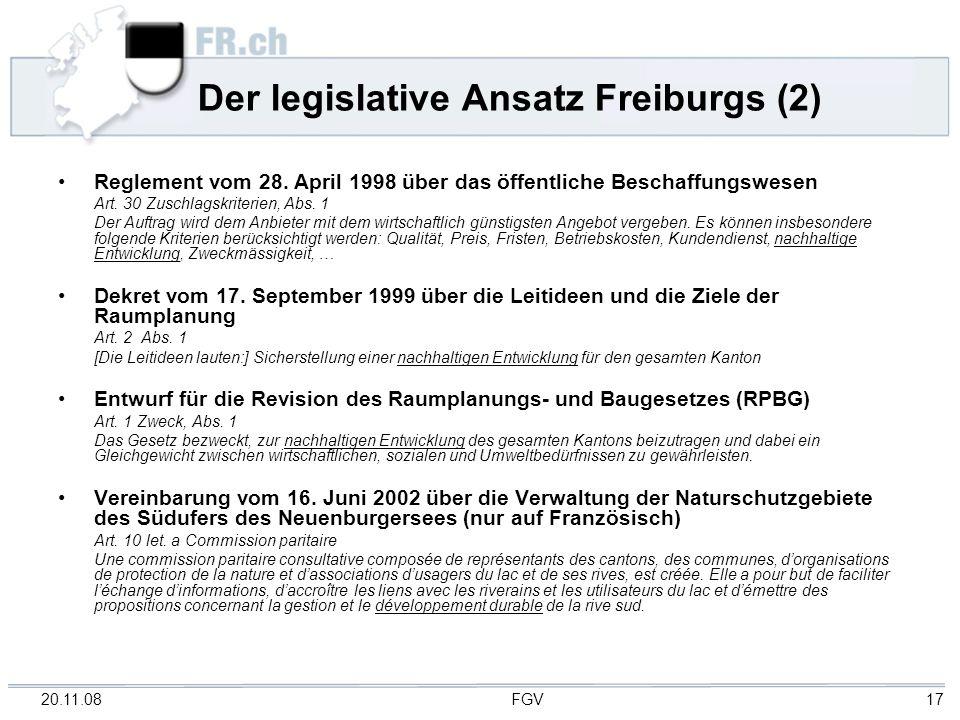 Der legislative Ansatz Freiburgs (2)