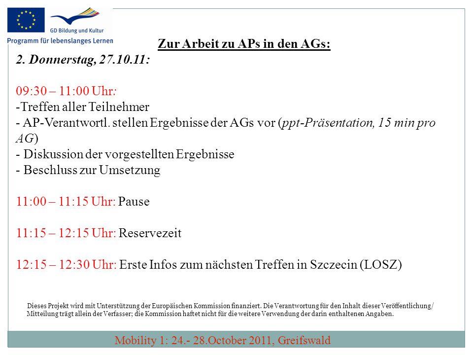 Zur Arbeit zu APs in den AGs: 2. Donnerstag, 27.10.11: