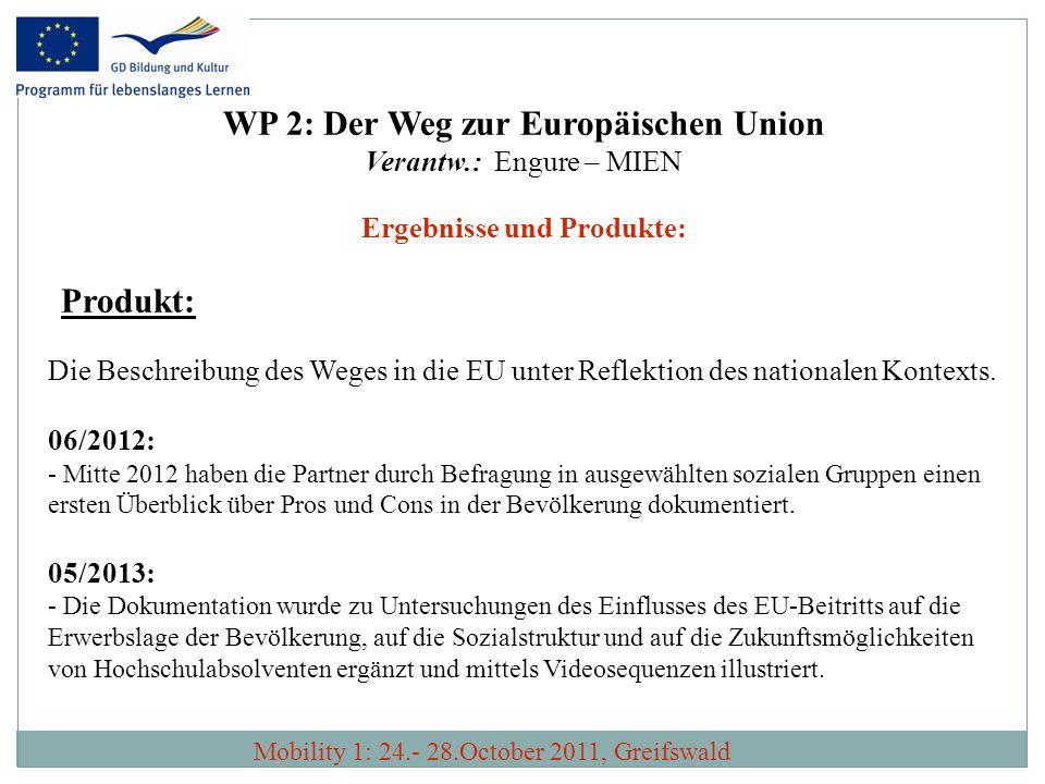 WP 2: Der Weg zur Europäischen Union Ergebnisse und Produkte: