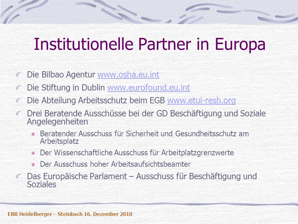 Institutionelle Partner in Europa