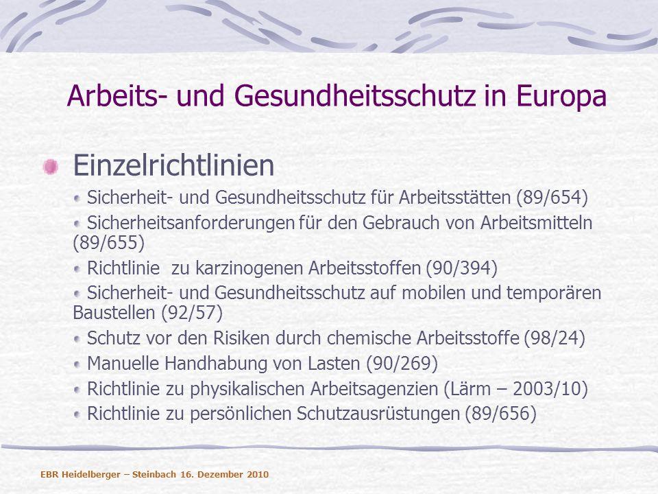 Arbeits- und Gesundheitsschutz in Europa