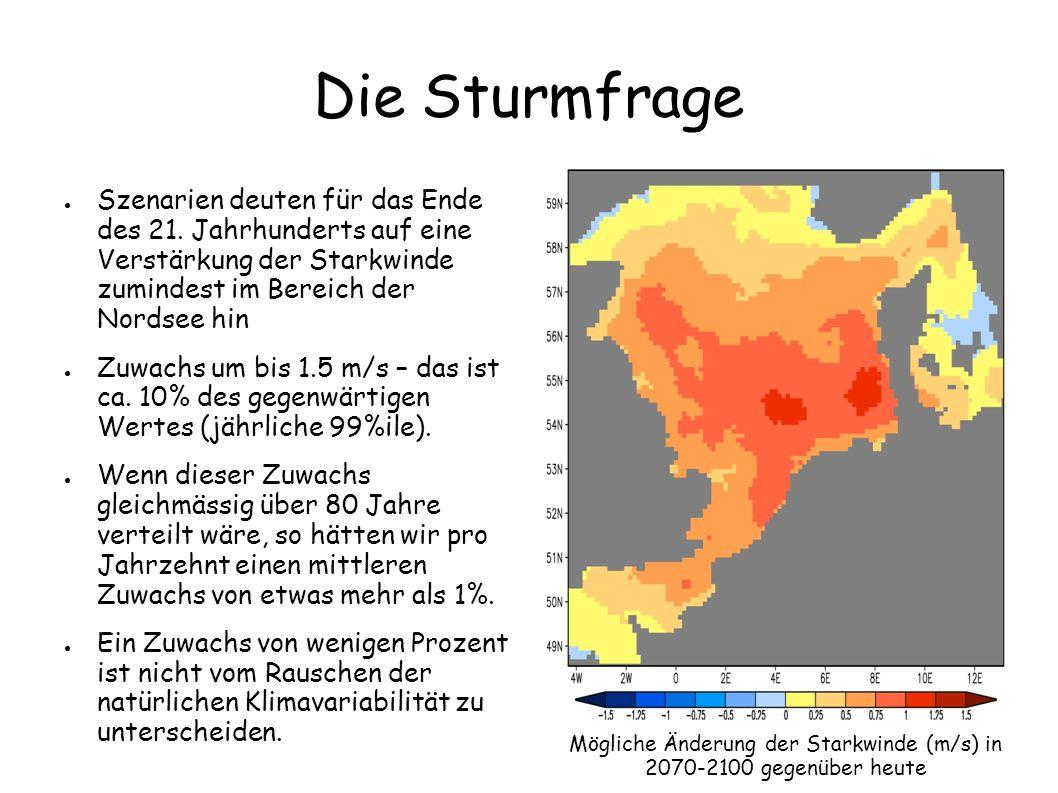 Mögliche Änderung der Starkwinde (m/s) in 2070-2100 gegenüber heute