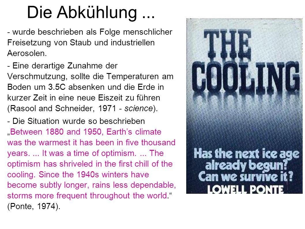Die Abkühlung ... - wurde beschrieben als Folge menschlicher Freisetzung von Staub und industriellen Aerosolen.