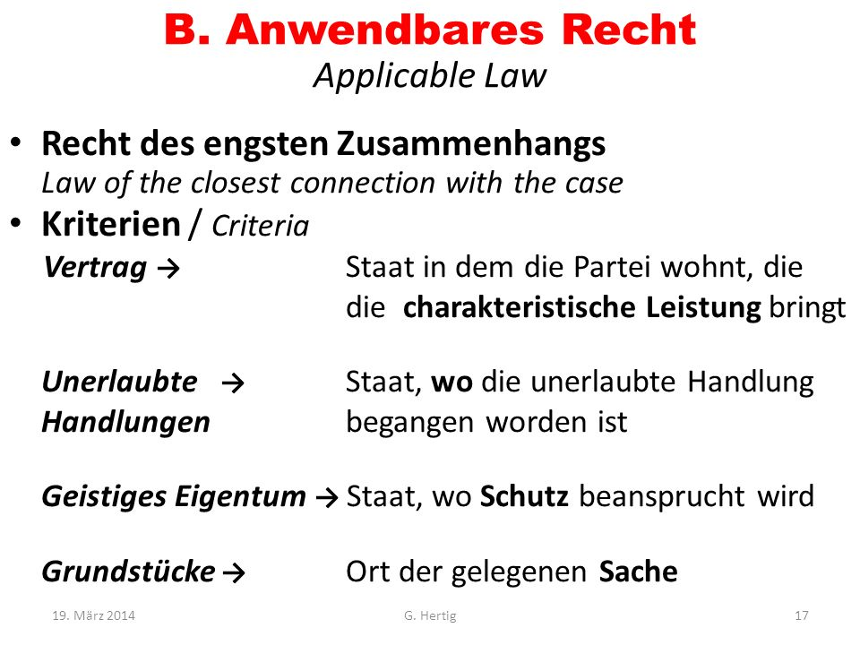 B. Anwendbares Recht Applicable Law