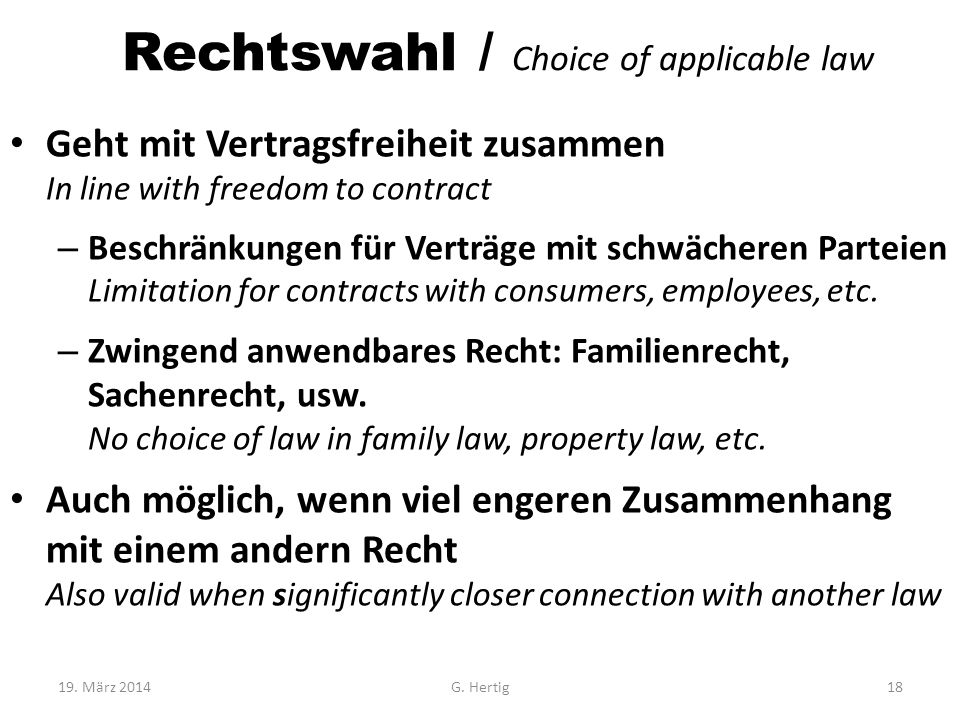 Rechtswahl / Choice of applicable law
