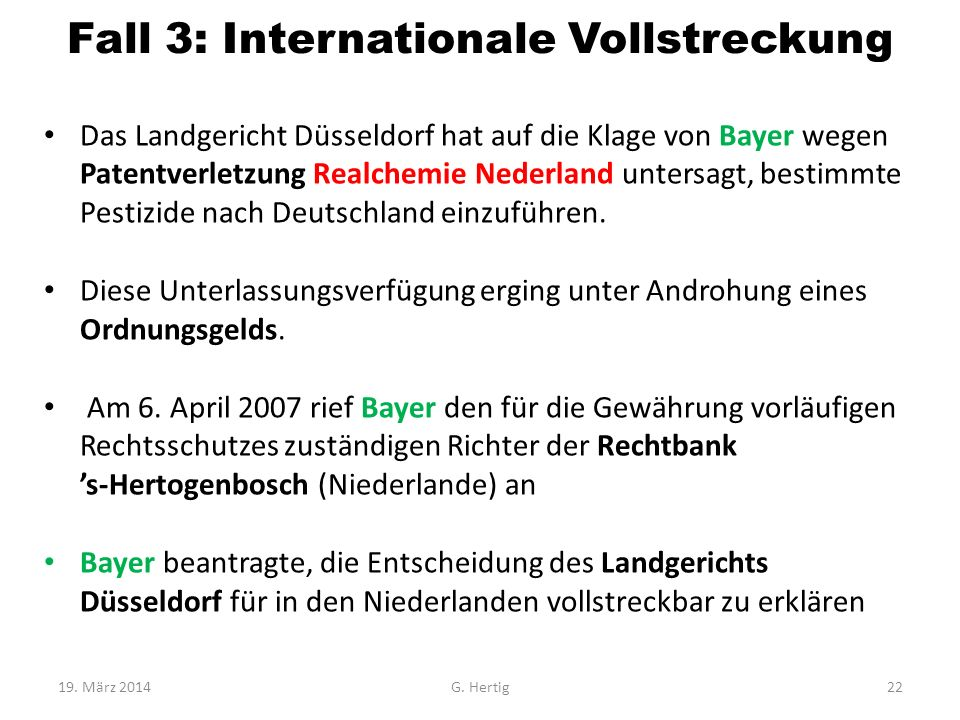 Fall 3: Internationale Vollstreckung