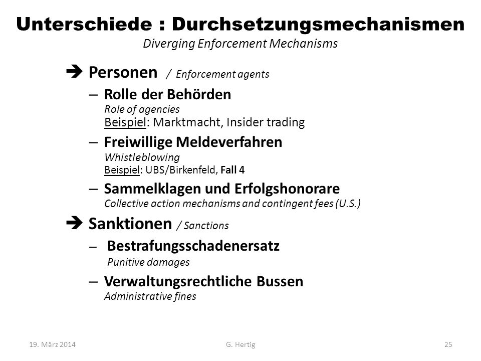 Unterschiede : Durchsetzungsmechanismen Diverging Enforcement Mechanisms