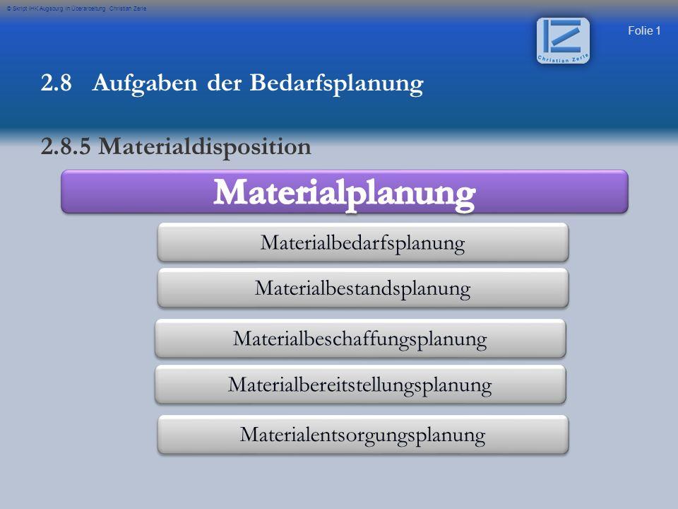 Materialplanung 2.8 Aufgaben der Bedarfsplanung