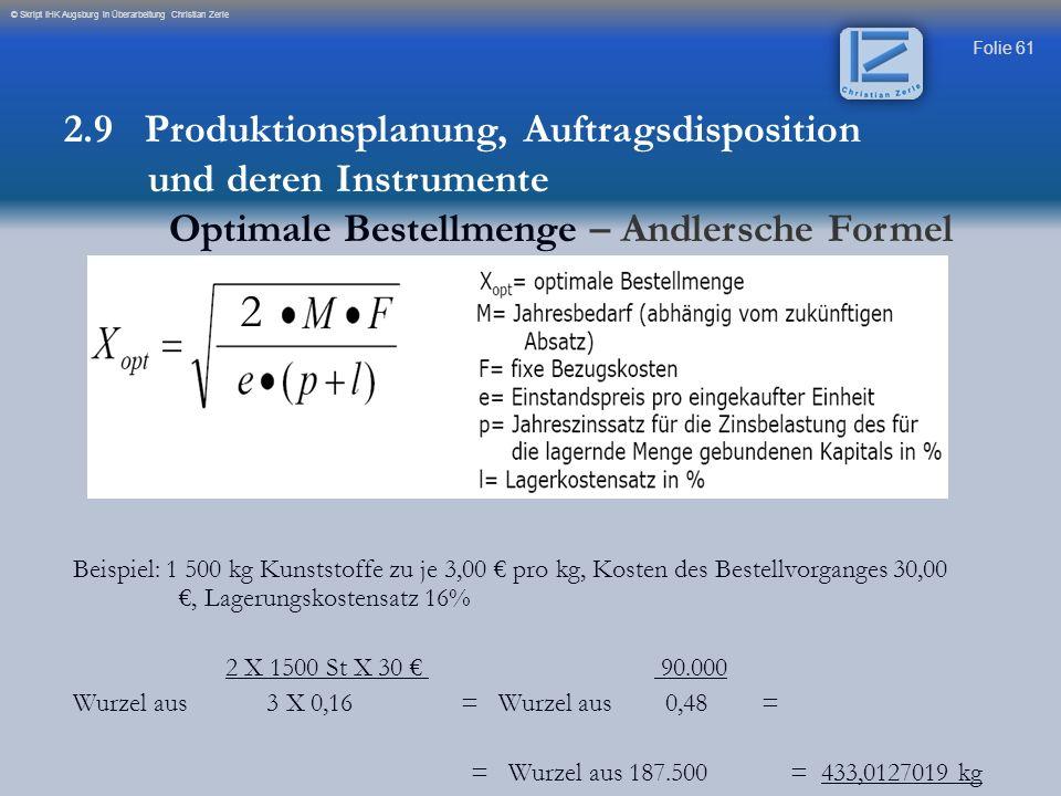 2 2.9 Produktionsplanung, Auftragsdisposition und deren Instrumente