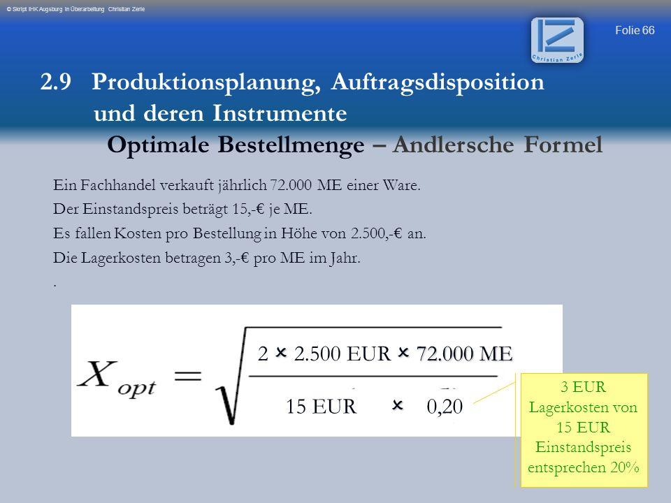 3 EUR Lagerkosten von 15 EUR Einstandspreis entsprechen 20%