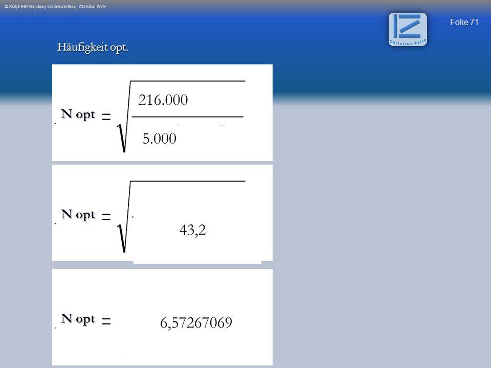 216.000 5.000 43,2 6,57267069 N opt N opt N opt Häufigkeit opt.