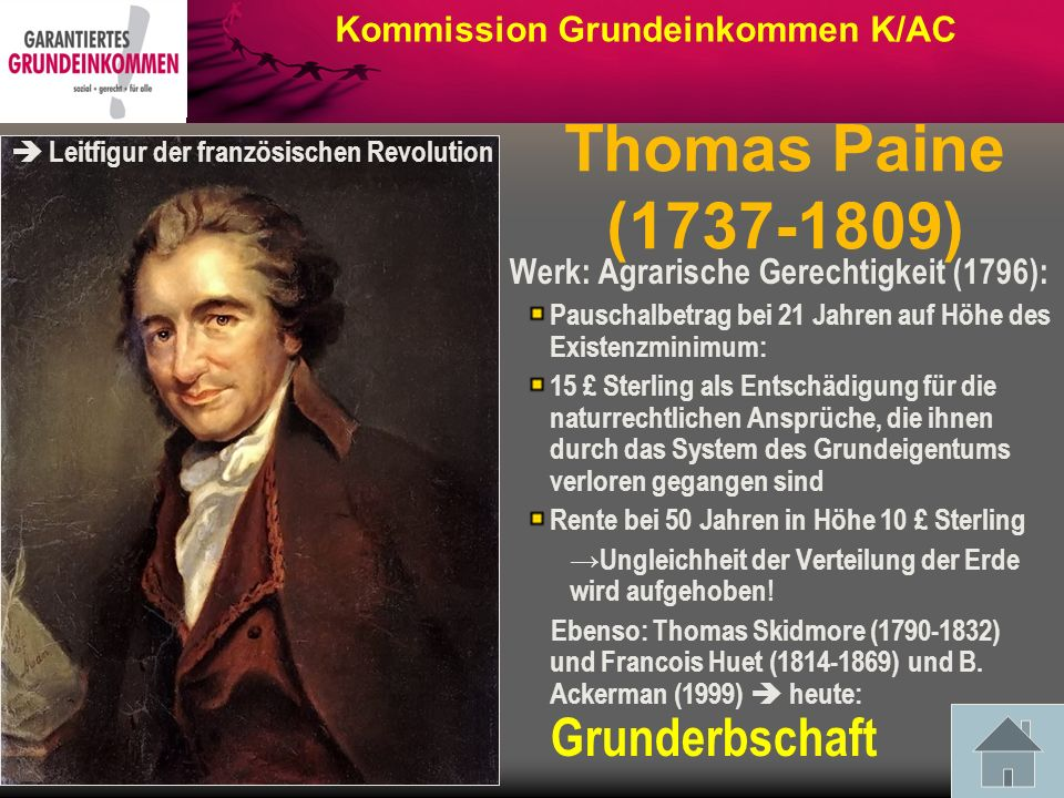 Thomas Paine (1737-1809) Kommission Grundeinkommen K/AC